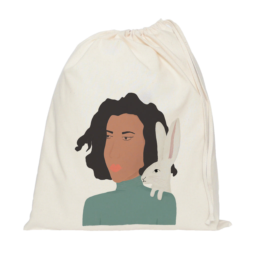 Lady and hare drawstring bag
