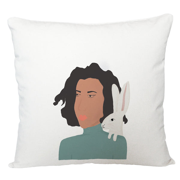 Lady and hare cushion cover
