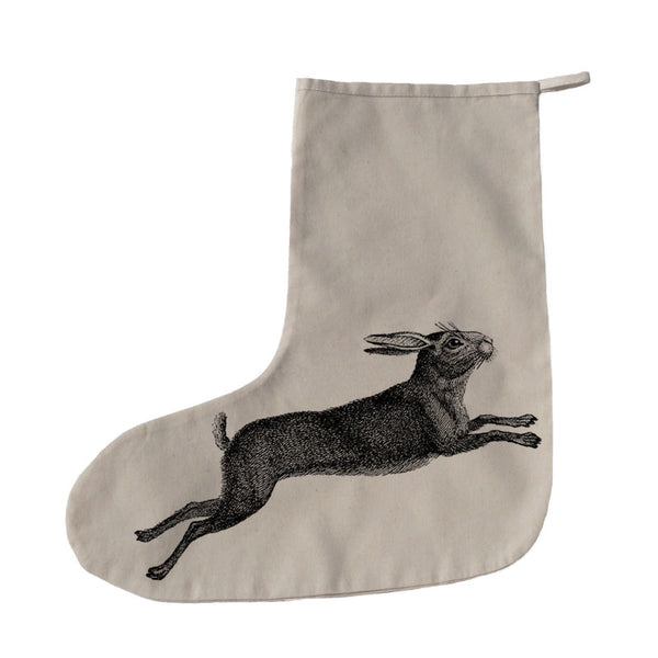 Leaping hare Christmas stocking