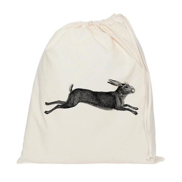 Leaping hare drawstring bag
