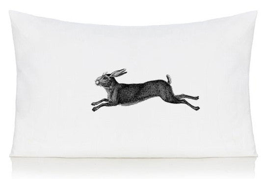 Leaping hare pillow case