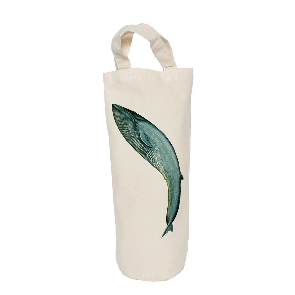 Leaping blue whale bottle bag