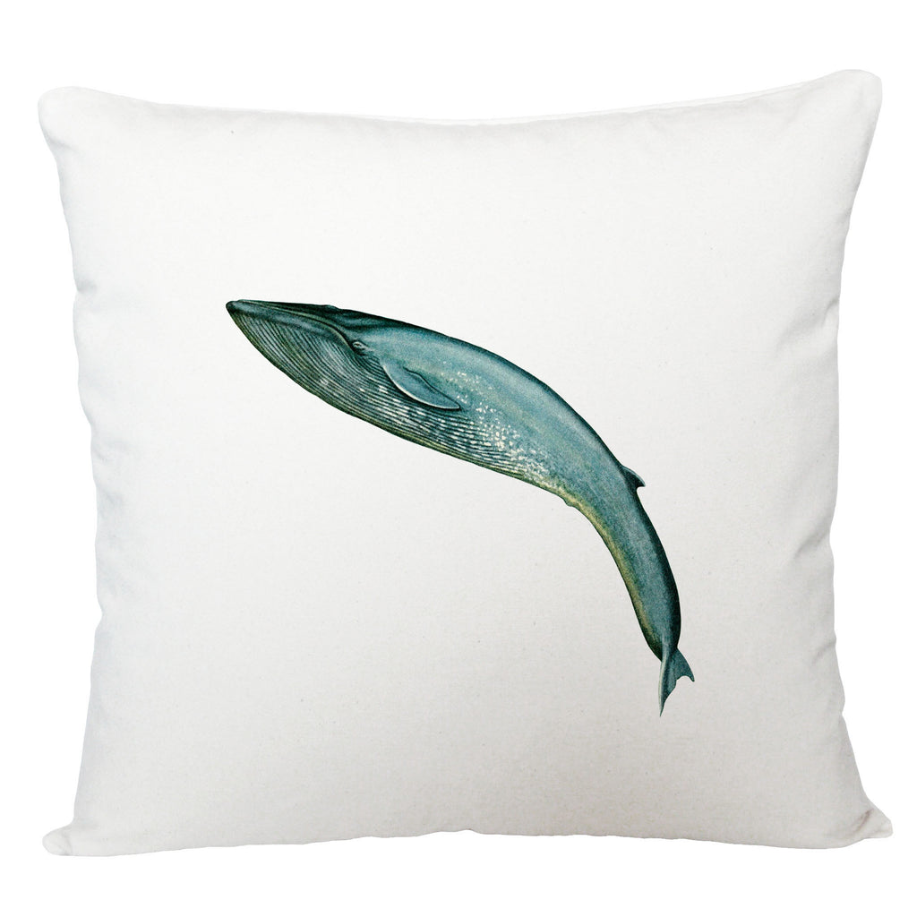 Leaping blue whale cushion cover