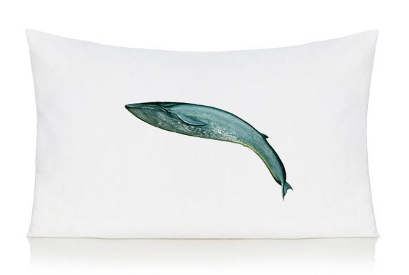 Leaping blue whale pillow case