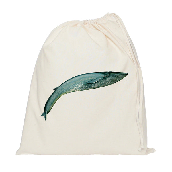 Leaping blue whale drawstring bag