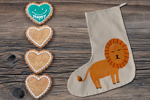 Orange lion Christmas stocking
