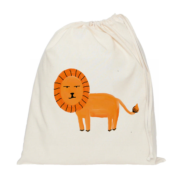 Orange lion drawstring bag