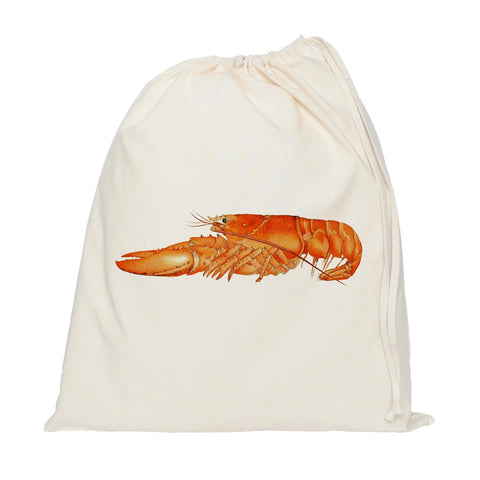 Orange lobster drawstring bag