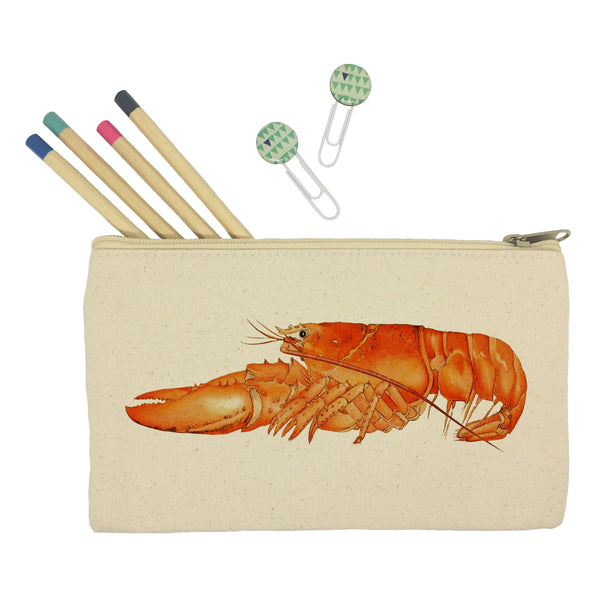 Orange lobster pencil case