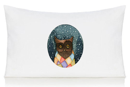 Owl in a scarf pillow case