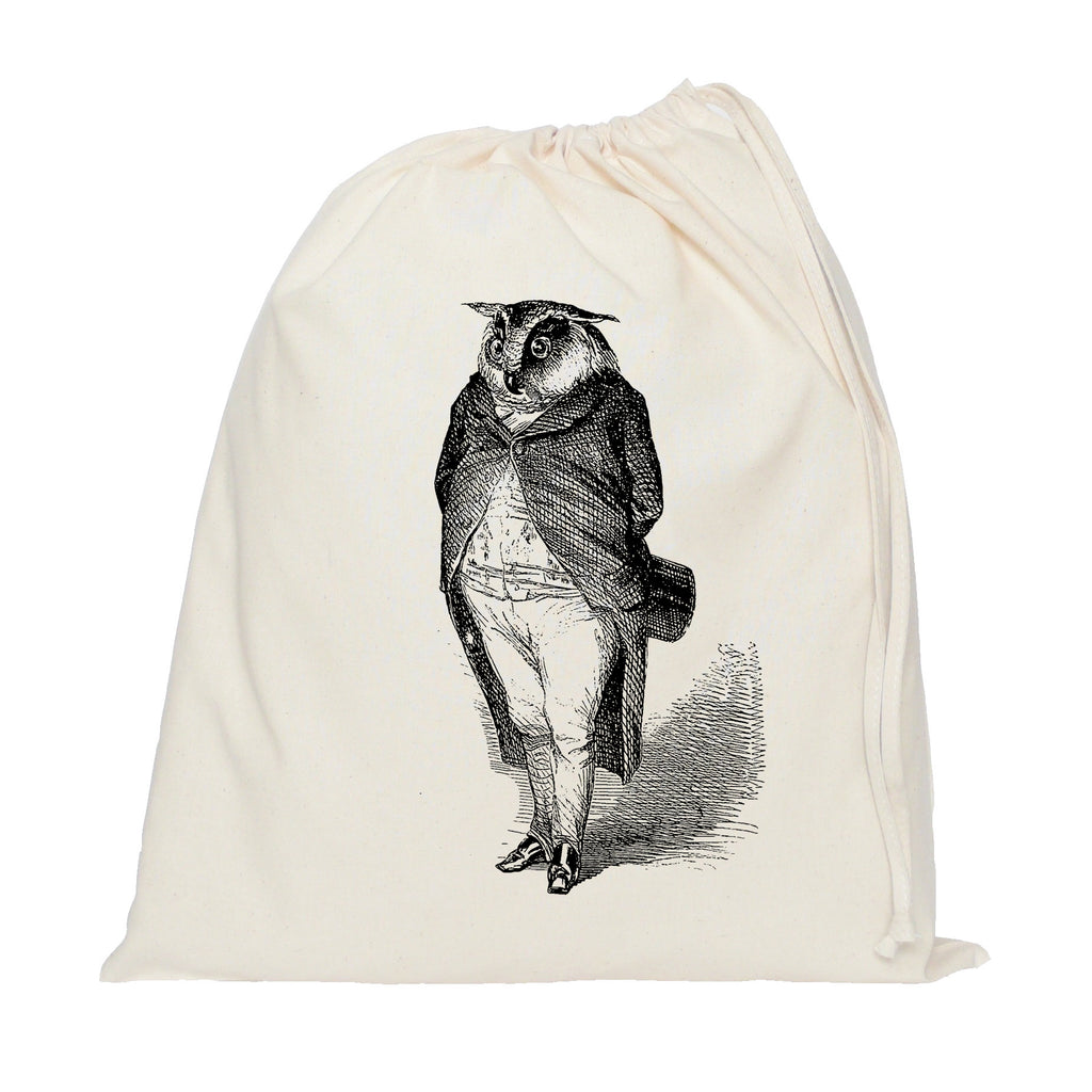 Owl in a suit drawstring bag
