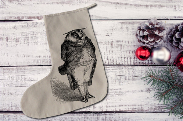 Owl in a suit Christmas stocking