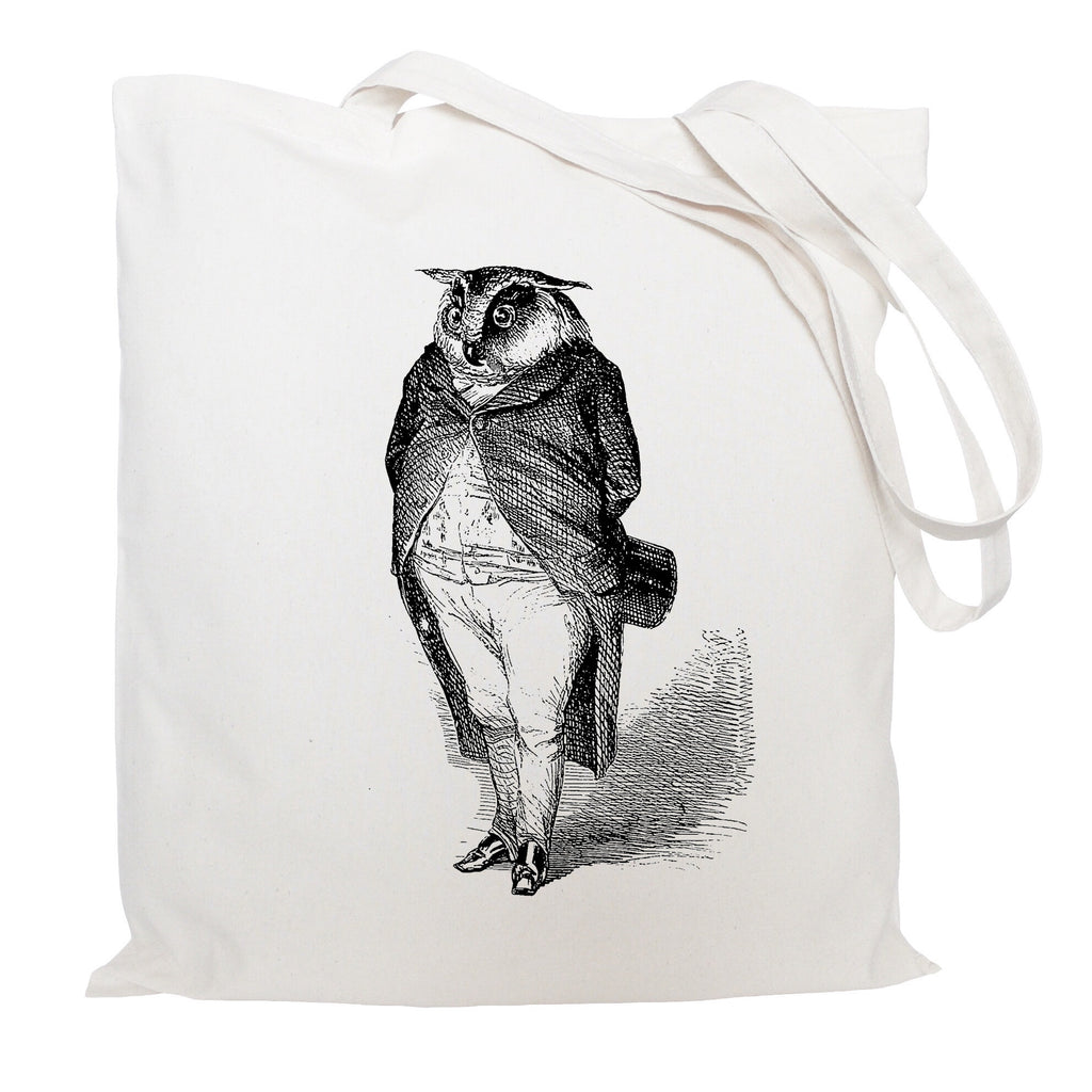 Owl in a suit tote bag