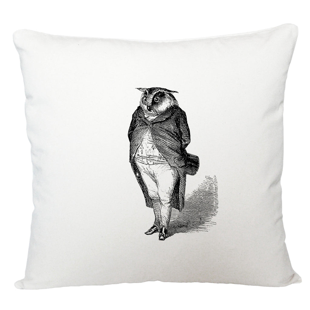 Owl in a suit cushion cover