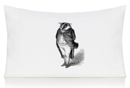 Owl in a suit pillow case