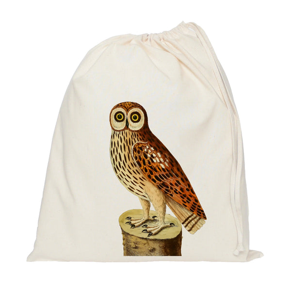Owl on a log drawstring bag