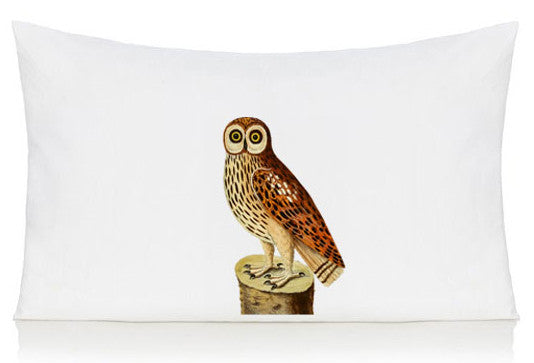 Owl on a log pillow case