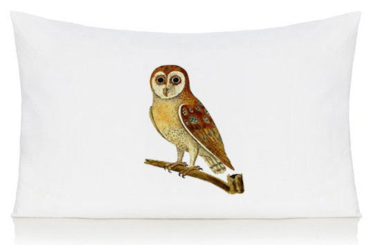 Owl on a branch pillow case