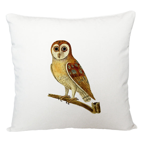 Owl on a branch cushion cover