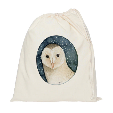 Owl on night sky drawstring bag