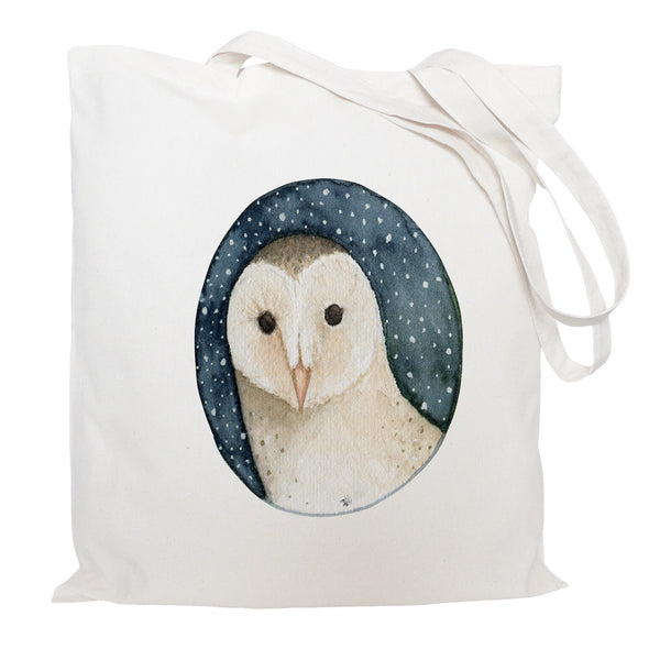 Owl on starry night tote bag