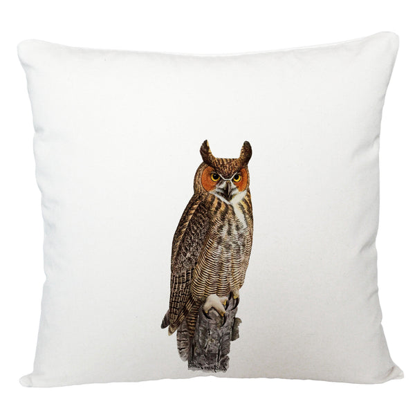 Orange face owl cushion cover