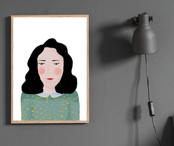 Painted lady portrait print/ wall art