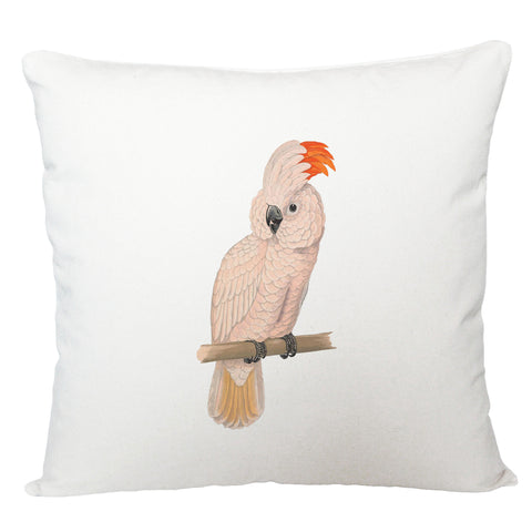 White parrot cushion cover