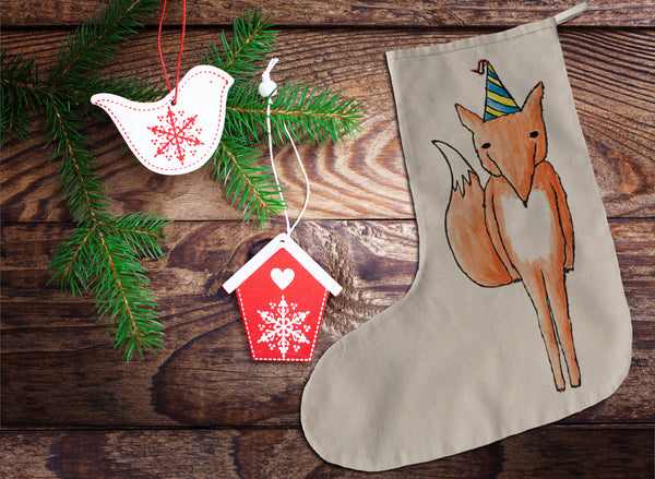 Party fox Christmas stocking