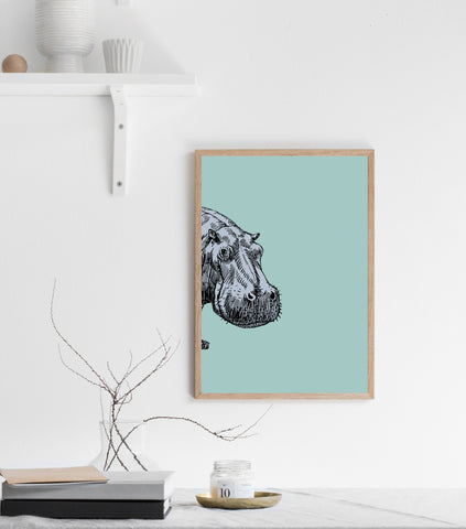 Peeking hipo print/ wall art