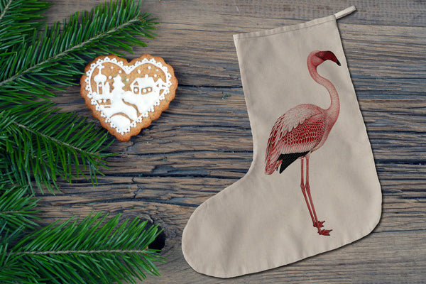 Pink flamingo Christmas stocking