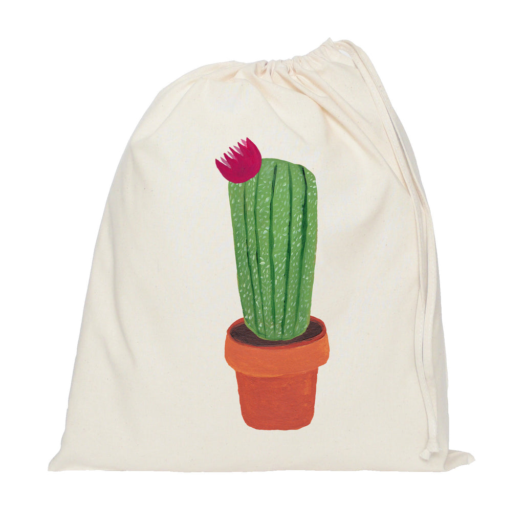 Pink flower cactus drawstring bag