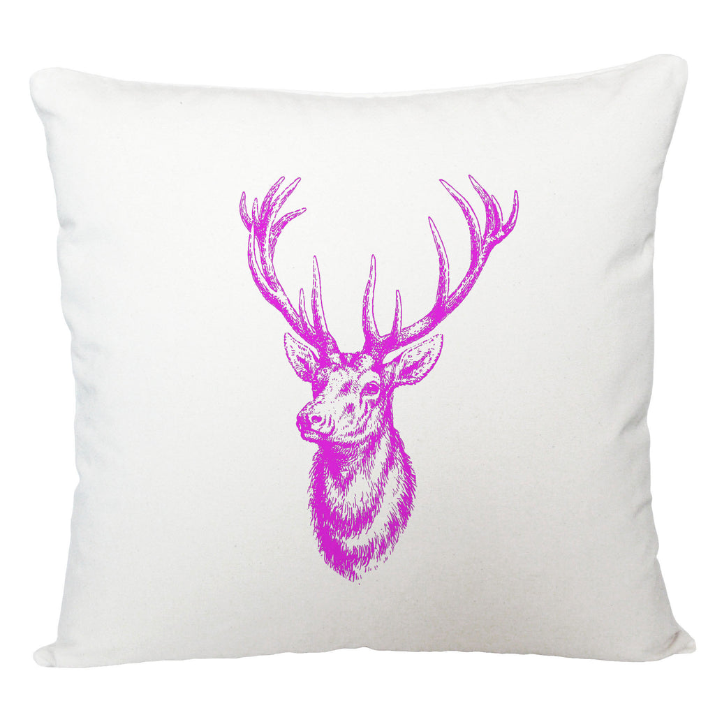 Pink stag head cushion cover