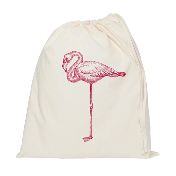 Pink flamingo drawstring bag