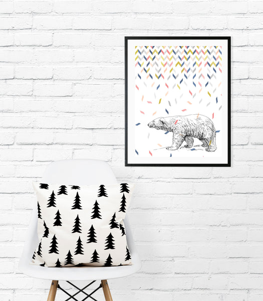 Polar bear in confetti print/ wall art
