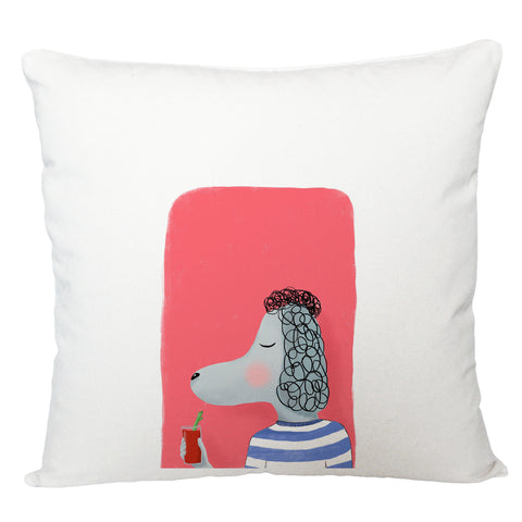 Poodle with cocktail cushion cover