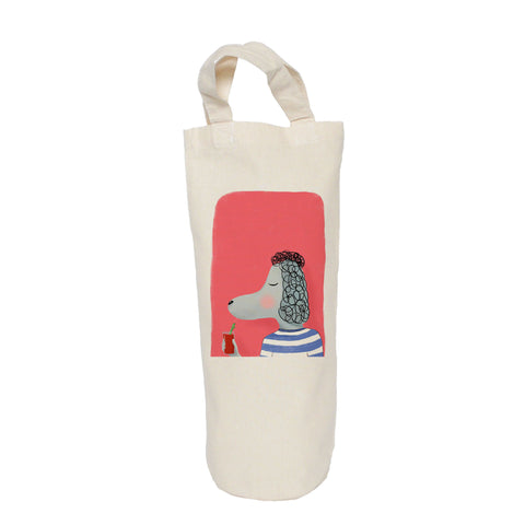 Poodle with cocktail bottle bag