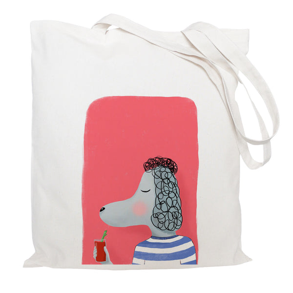 Poodle with cocktail tote bag