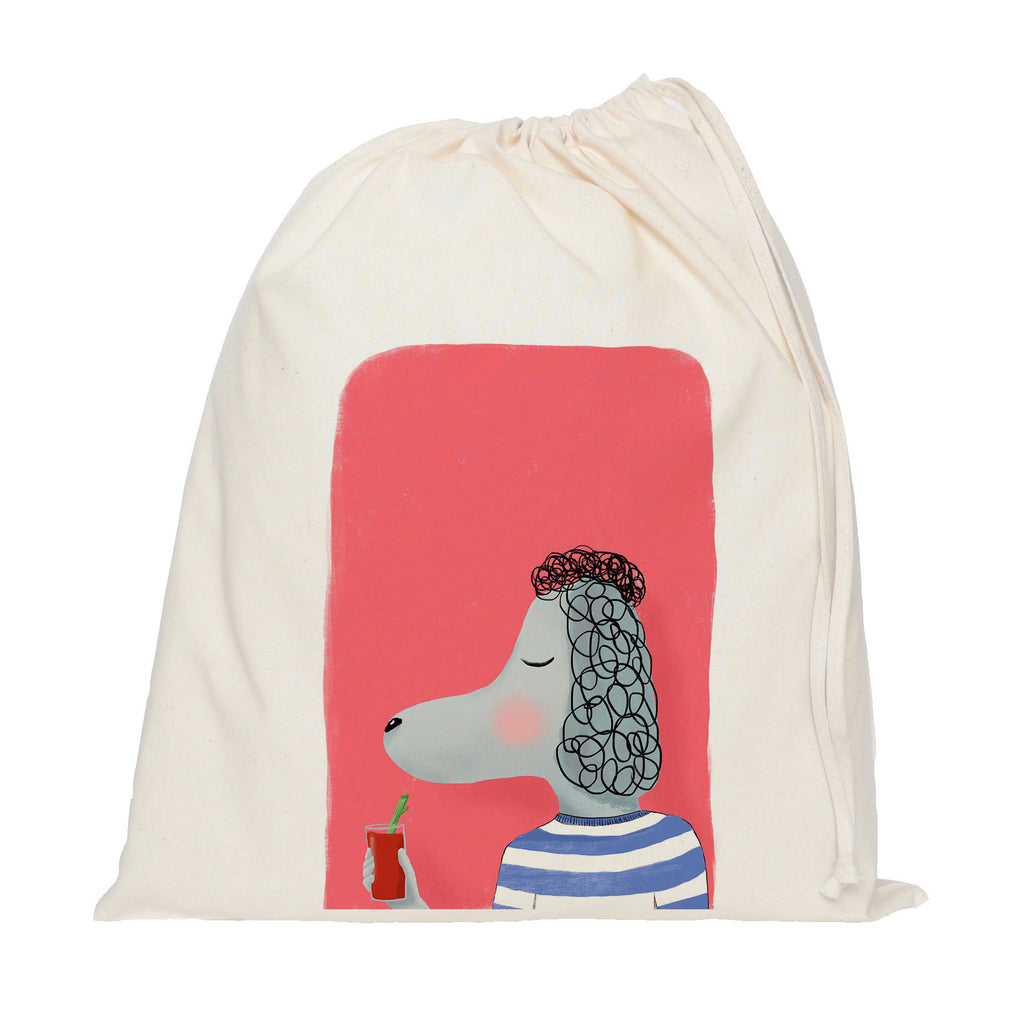 Poodle with cocktail drawstring bag
