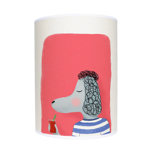 Poodle with cocktail lamp shade/ ceiling shade