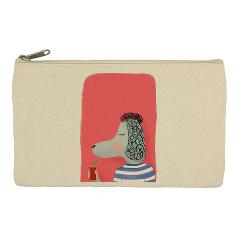 Poodle with cocktail pencil case