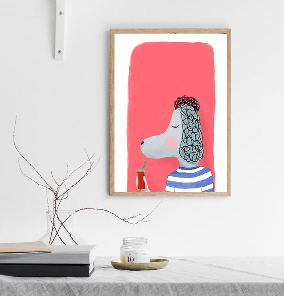 Poodle with cocktail print/ wall art