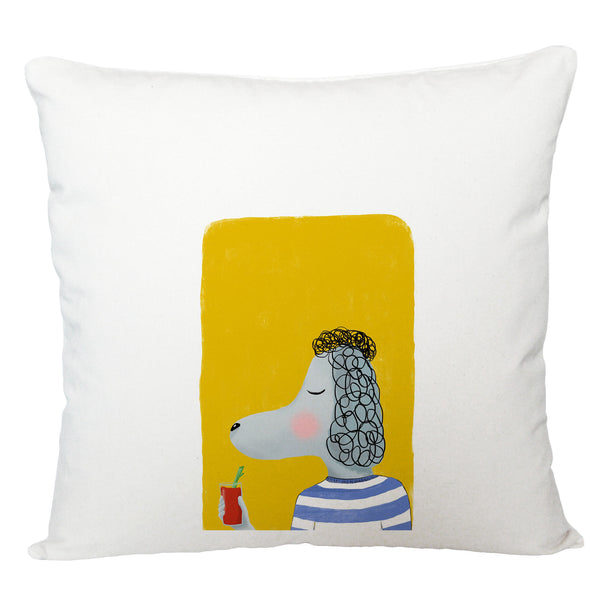 Poodle with drink cushion cover