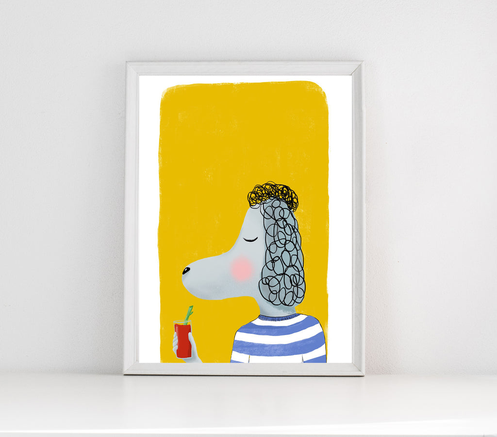 Poodle with drink print/ wall art