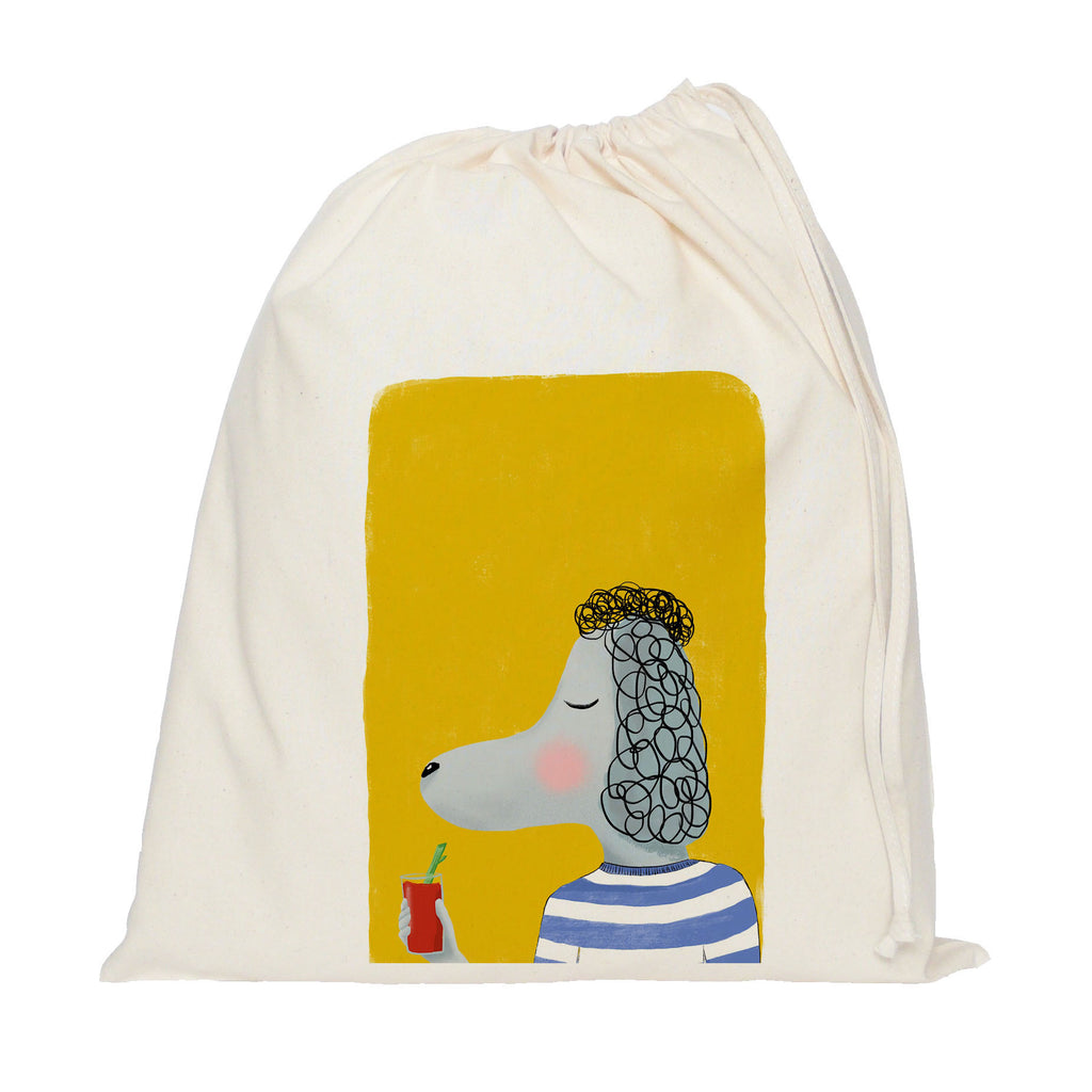Poodle with drink drawstring bag