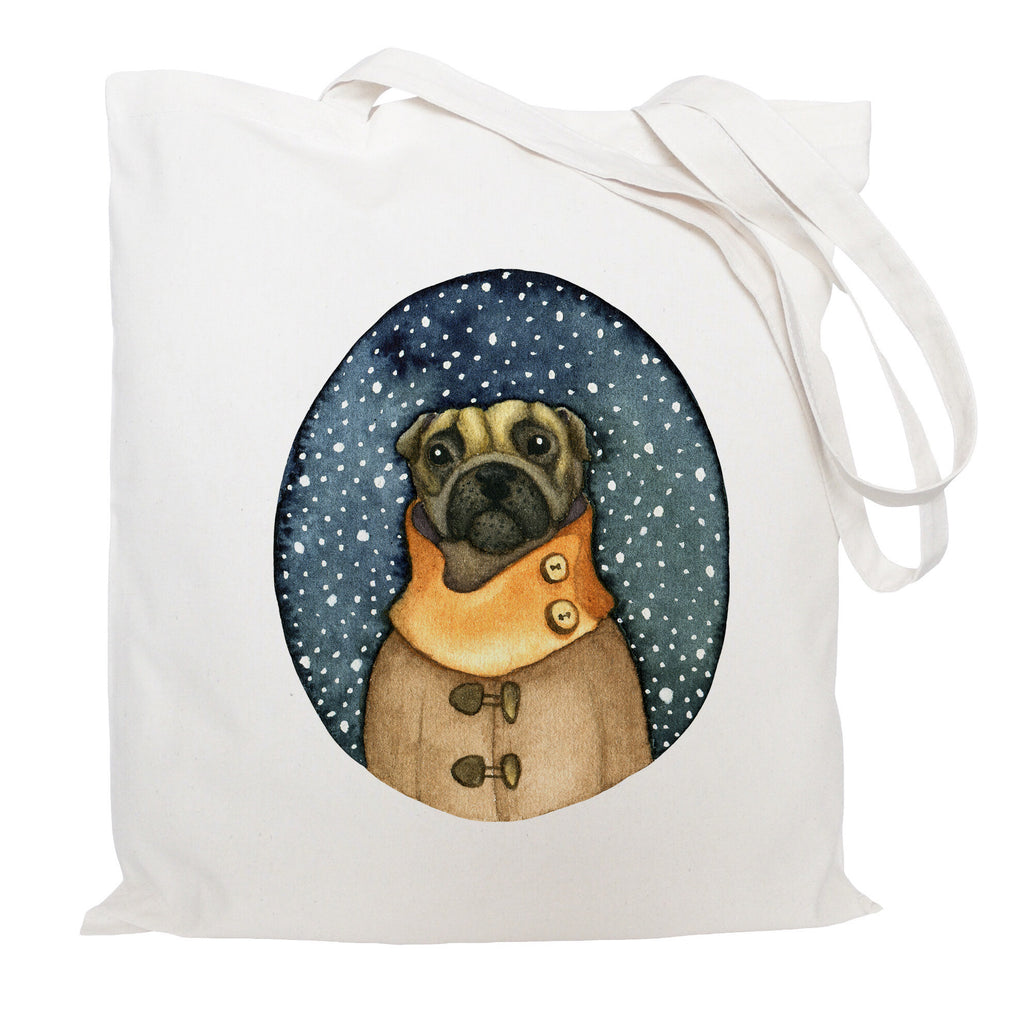 Pug in a coat tote bag