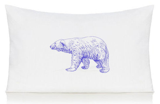 Purple polar bear pillow case