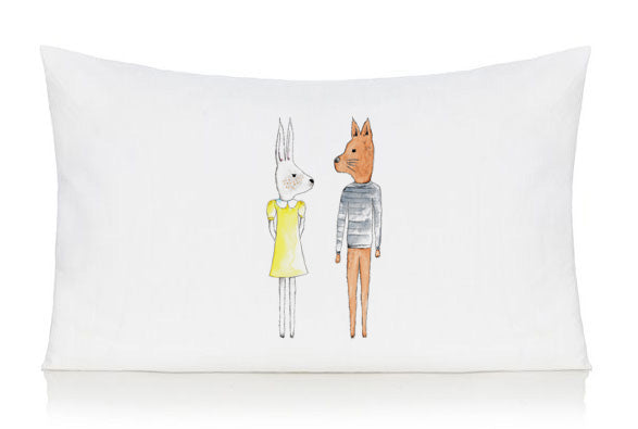 Rabbit and fox pillow case