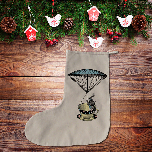 Alice in Wonderland rabbit in a tea cup Christmas stocking