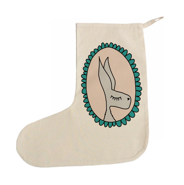Green rabbit Christmas stocking